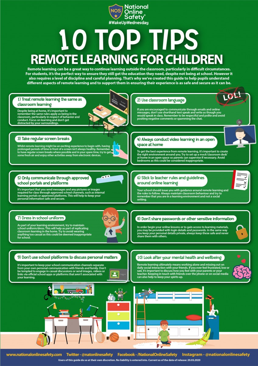 Top ten tips for children for remote learning