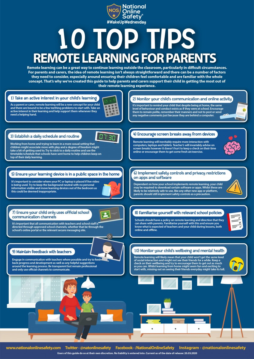 Top 10 tips for parents for remote learning